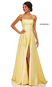 Image of long spaghetti-strap prom dress by Sherri Hill. Style: SH-52602 Detail Image 3