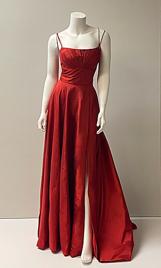 Long Spaghetti-Strap Prom Dress with Pockets