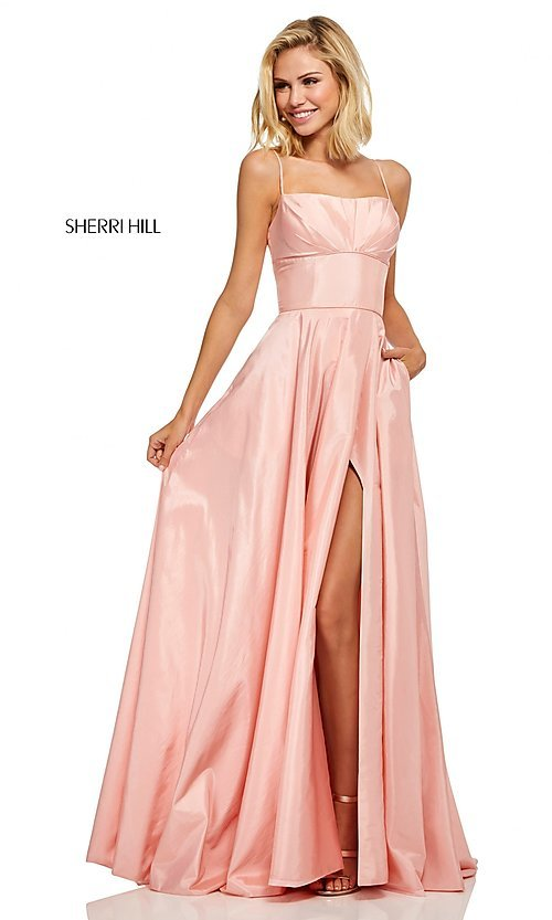 Image of long spaghetti-strap prom dress by Sherri Hill. Style: SH-52602 Front Image