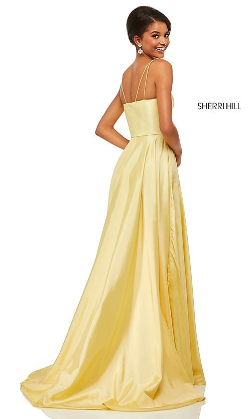 Image of long spaghetti-strap prom dress by Sherri Hill. Style: SH-52602 Detail Image 4
