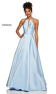 Image of a-line long high-neck Sherri Hill prom dress. Style: SH-52583 Detail Image 8
