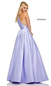 Image of a-line long high-neck Sherri Hill prom dress. Style: SH-52583 Detail Image 5