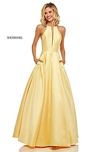 Image of a-line long high-neck Sherri Hill prom dress. Style: SH-52583 Front Image