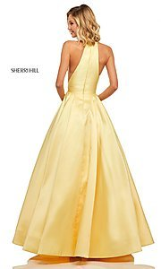 Image of a-line long high-neck Sherri Hill prom dress. Style: SH-52583 Back Image
