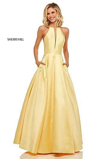 A-Line Long High-Neck Sherri Hill Prom Dress