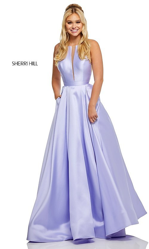 Image of a-line long high-neck Sherri Hill prom dress. Style: SH-52583 Detail Image 4