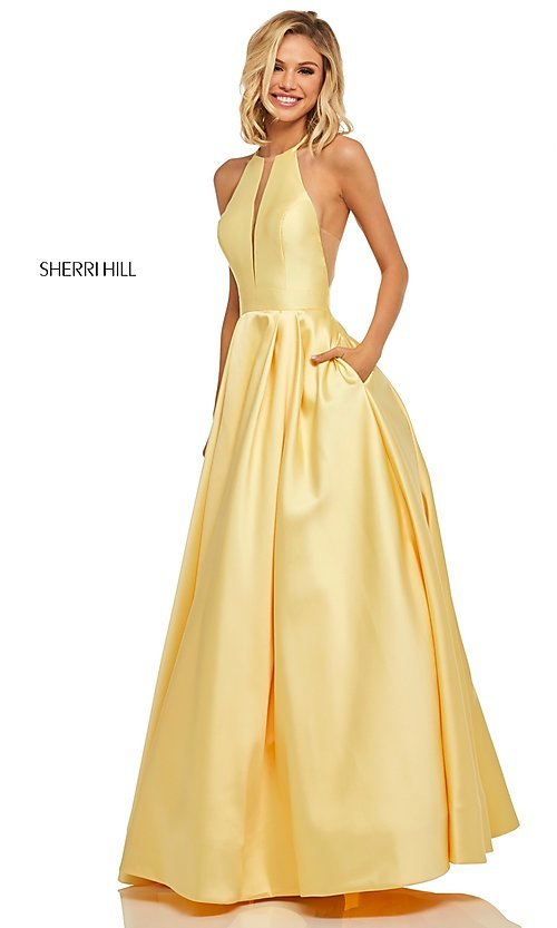Image of a-line long high-neck Sherri Hill prom dress. Style: SH-52583 Detail Image 3