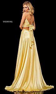 Image of two-piece a-line designer prom dress with pockets. Style: SH-52488 Back Image