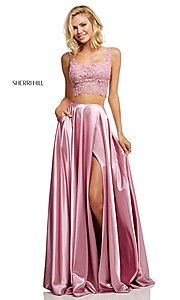 Image of two-piece long Sherri Hill prom dress with lace top. Style: SH-52600 Front Image