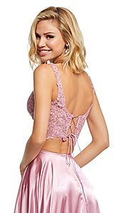 Image of two-piece long Sherri Hill prom dress with lace top. Style: SH-52600 Detail Image 2