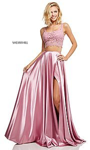 Image of two-piece long Sherri Hill prom dress with lace top. Style: SH-52600 Detail Image 3