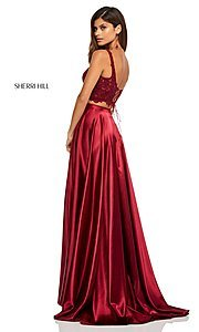 Image of two-piece long Sherri Hill prom dress with lace top. Style: SH-52600 Detail Image 5