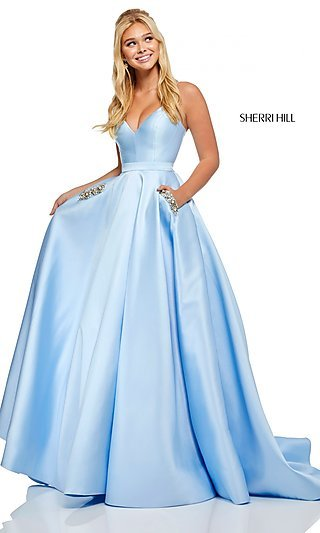 Long A-Line Prom Dress with a Lace-Up Back
