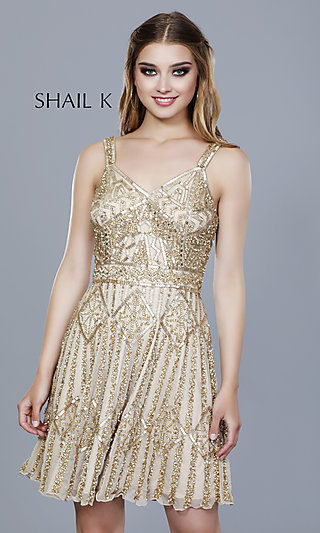 V-Neck Beaded and Sequined Homecoming Dress