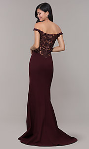 Image of off-shoulder lace-appliqued-back long prom dress. Style: ZG-31304 Detail Image 6
