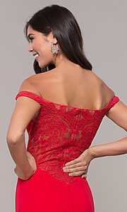 Image of off-shoulder lace-appliqued-back long prom dress. Style: ZG-31304 Detail Image 2