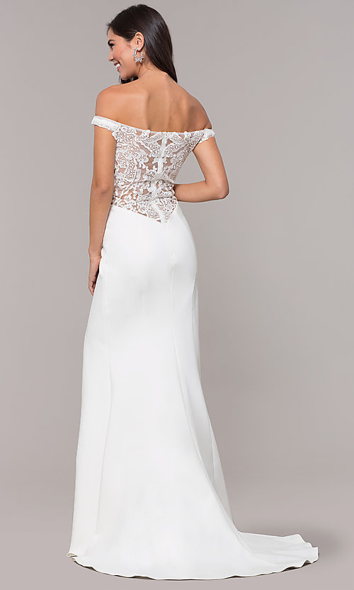 Image of off-shoulder lace-appliqued-back long prom dress. Style: ZG-31304 Detail Image 4