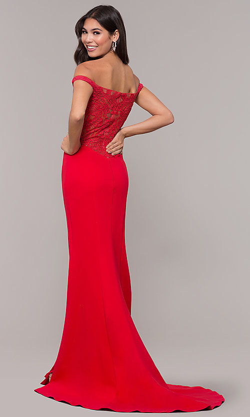 Image of off-shoulder lace-appliqued-back long prom dress. Style: ZG-31304 Front Image