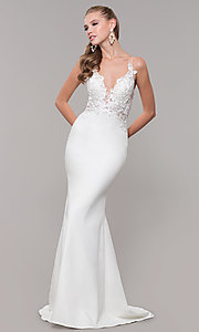 Image of sleeveless prom dress with embroidered bodice. Style: ZG-31307 Detail Image 3