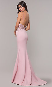 Image of sleeveless prom dress with embroidered bodice. Style: ZG-31307 Detail Image 5