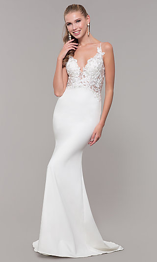 3501c23db5 Sleeveless Prom Dress with Embroidered Bodice