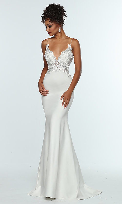 Image of sleeveless prom dress with embroidered bodice. Style: ZG-31307 Front Image