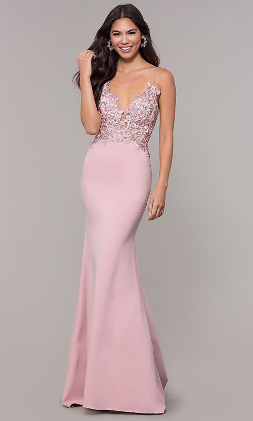 Image of sleeveless prom dress with embroidered bodice. Style: ZG-31307 Detail Image 4