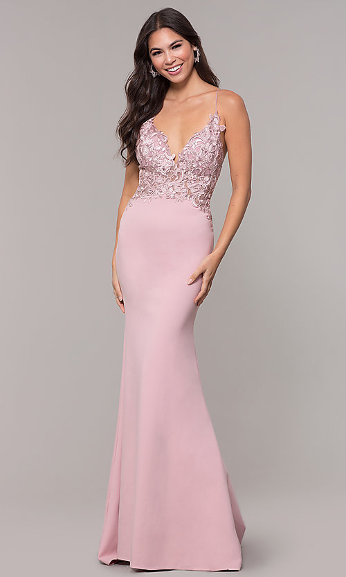 Image of sleeveless prom dress with embroidered bodice. Style: ZG-31307 Detail Image 7