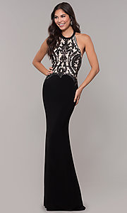 Image of long jersey prom dress with sequined details. Style: ZG-31320 Front Image
