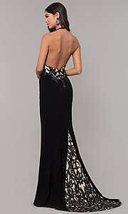 Image of long jersey prom dress with sequined details. Style: ZG-31320 Back Image