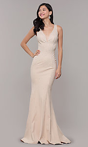 Image of long beaded v-neck nude prom dress by Zoey Grey. Style: ZG-31324 Front Image