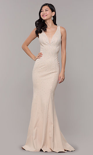 Long Beaded V-Neck Nude Prom Dress by Zoey Grey