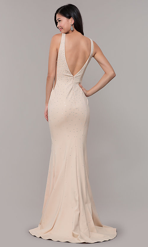 Image of long beaded v-neck nude prom dress by Zoey Grey. Style: ZG-31324 Back Image