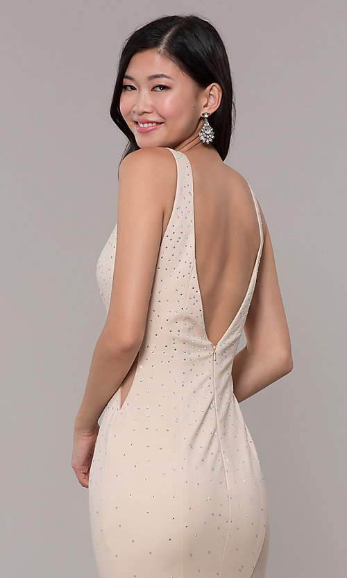Image of long beaded v-neck nude prom dress by Zoey Grey. Style: ZG-31324 Detail Image 2