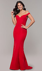 Image of long sweetheart off-the-shoulder mermaid prom dress. Style: ZG-31330 Front Image