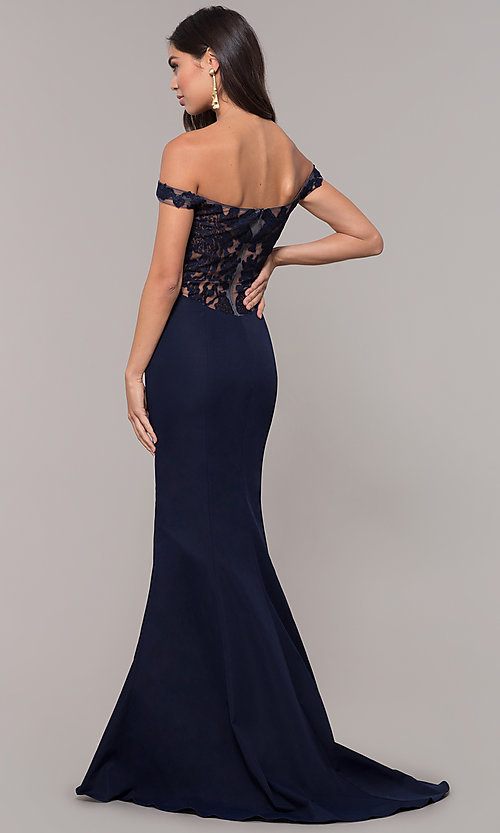 Image of long sweetheart off-the-shoulder mermaid prom dress. Style: ZG-31330 Detail Image 5
