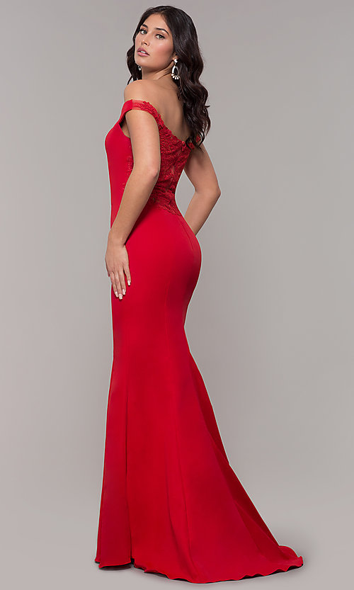 Image of long sweetheart off-the-shoulder mermaid prom dress. Style: ZG-31330 Back Image