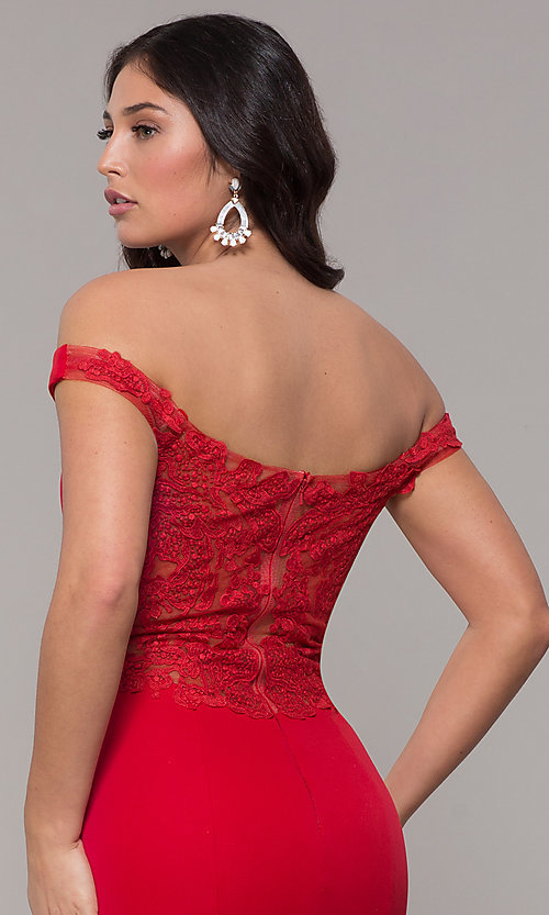 Image of long sweetheart off-the-shoulder mermaid prom dress. Style: ZG-31330 Detail Image 2