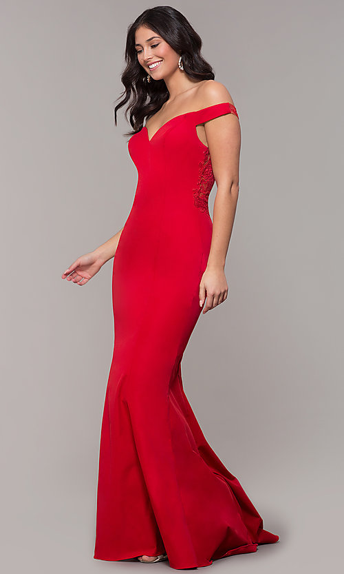 Image of long sweetheart off-the-shoulder mermaid prom dress. Style: ZG-31330 Detail Image 3