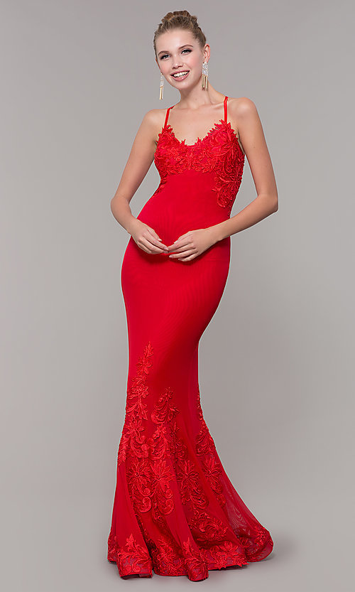 Image of long Zoey Grey red prom dress with embroidery. Style: ZG-31333 Front Image