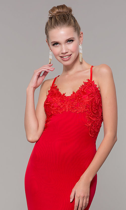 Image of long Zoey Grey red prom dress with embroidery. Style: ZG-31333 Detail Image 1