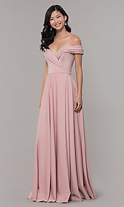 Image of off-the-shoulder sweetheart long prom dress. Style: ZG-31347 Detail Image 3