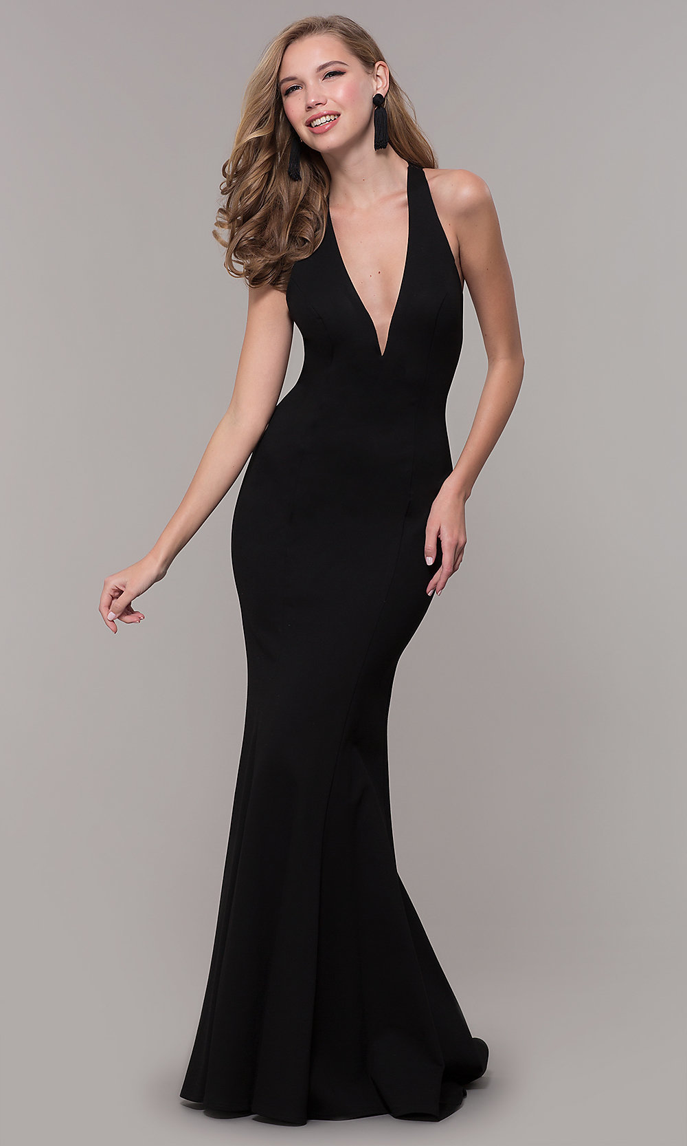 Long Sequin Zoey Grey Prom Dress with an Open Back
