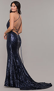 Image of backless v-neck sequin long prom dress with corset. Style: ZG-31435 Back Image