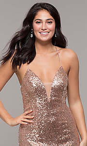Image of backless v-neck sequin long prom dress with corset. Style: ZG-31435 Detail Image 5
