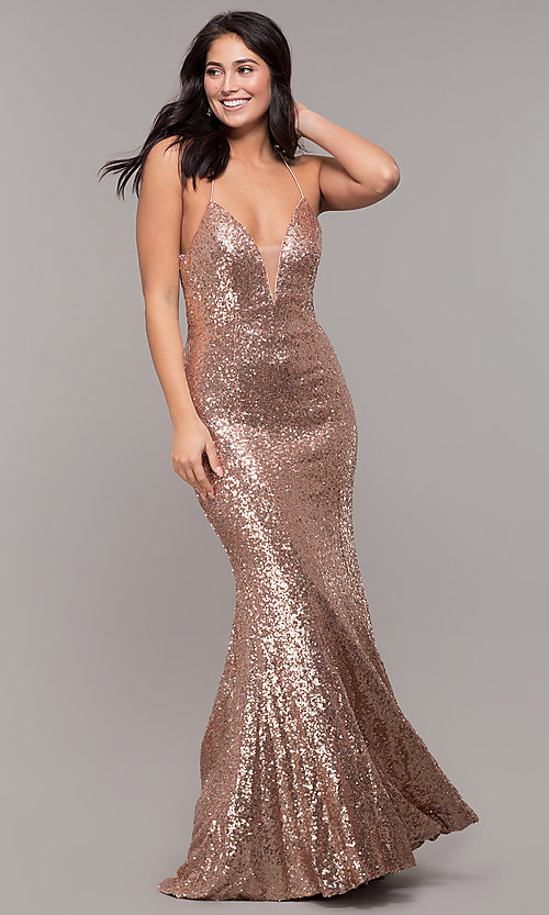 Image of backless v-neck sequin long prom dress with corset. Style: ZG-31435 Detail Image 3