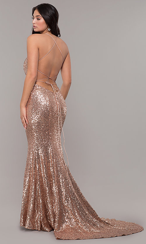 56f3ca20 Image of backless v-neck sequin long prom dress with corset. Style: ZG