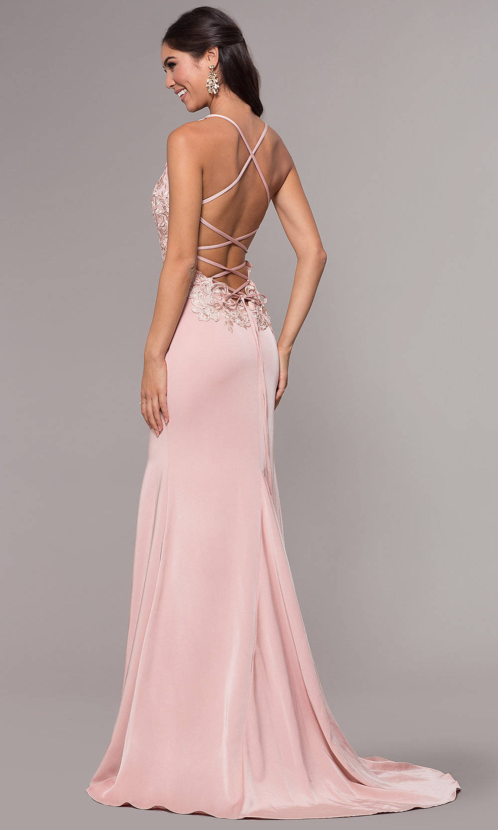 8f84a51876 Image of embroidered-bodice long v-neck prom dress. Style: ZG-. Tap to  expand