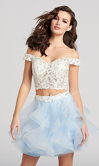 Off-the-Shoulder Babydoll Homecoming Dress