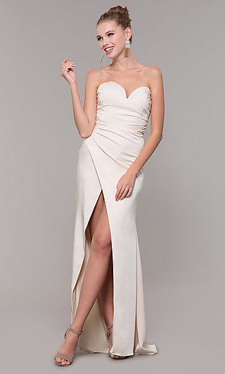 Long Strapless Sweetheart Prom Dress with Front Slit